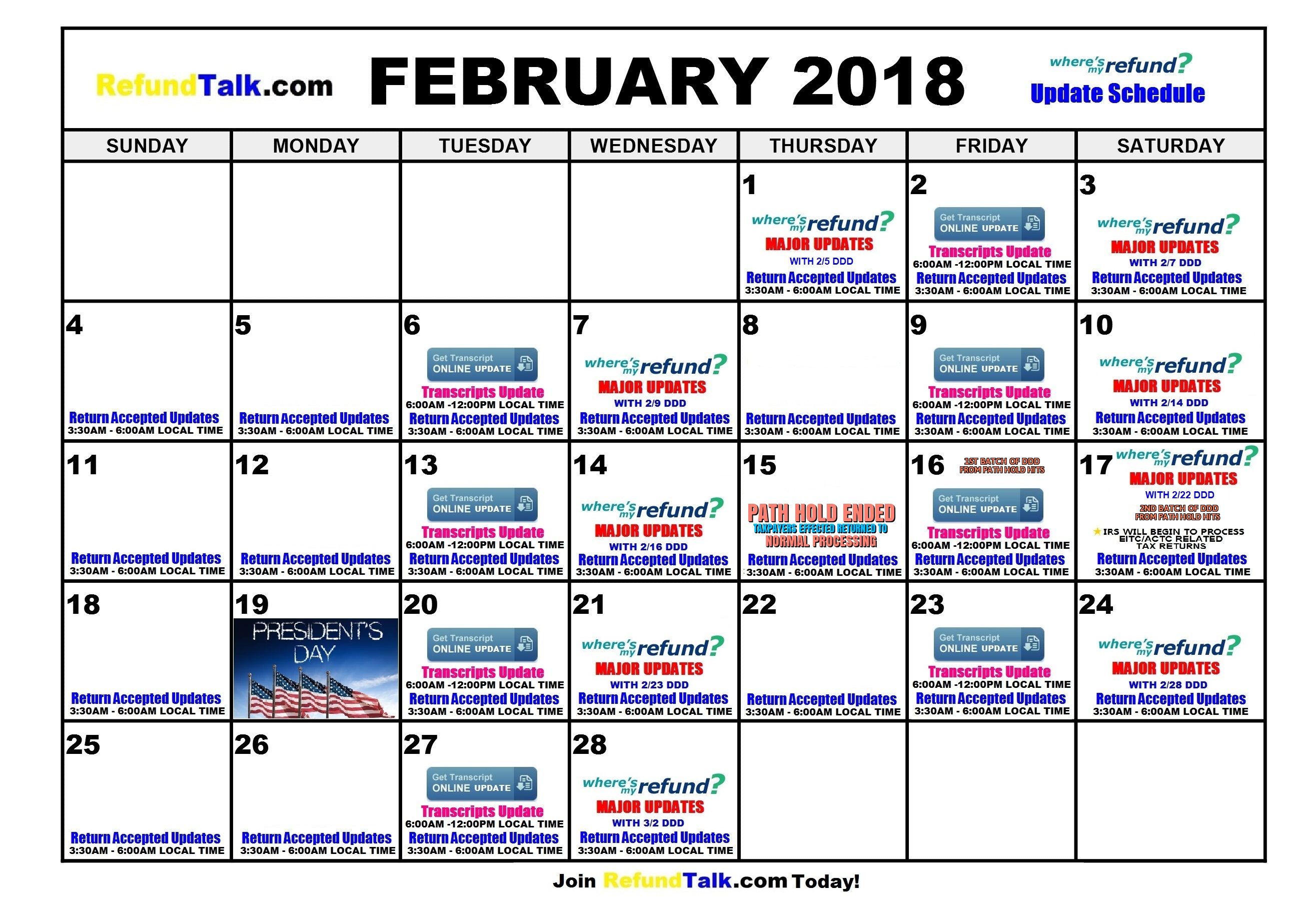 Tax Refund Calendar 2019 2018 Tax Refund Updates Calendar ⋆ RefundTalk.com