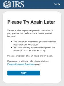 Get My Payment - Please Try Again Later - Your Account has been Locked