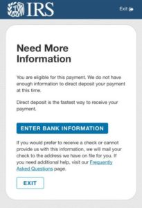 Get My Payment - Need More Information to process your stimulus payment